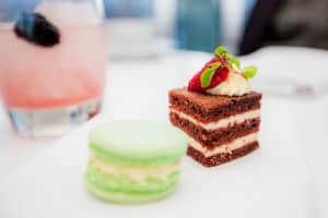Red Velvet cake and green macaroon