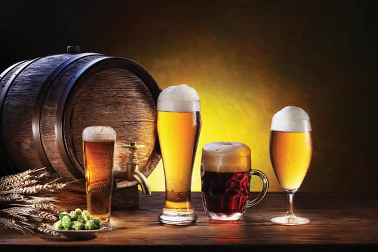 Varieties of beer with hops and barrel