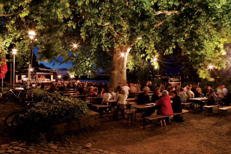 A German beer garden at night
