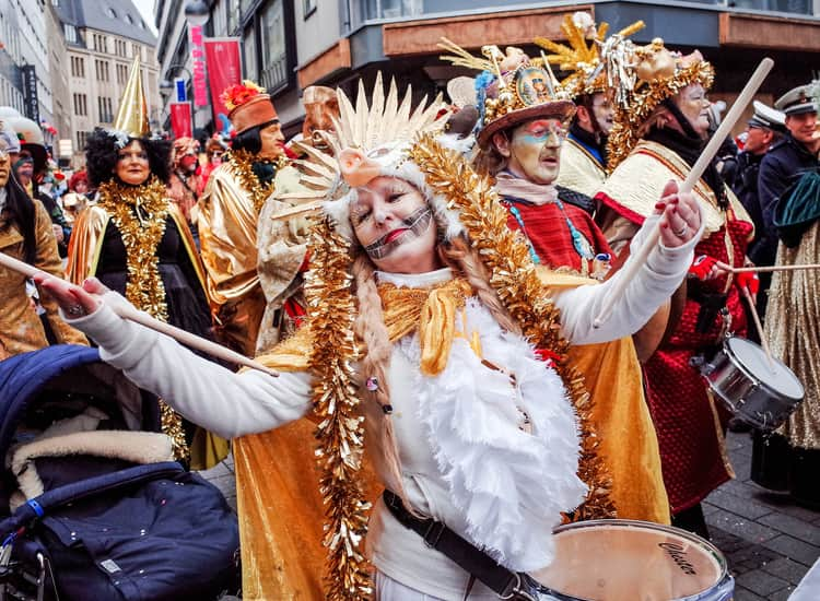 A woman dancing at the Cologne Carnival