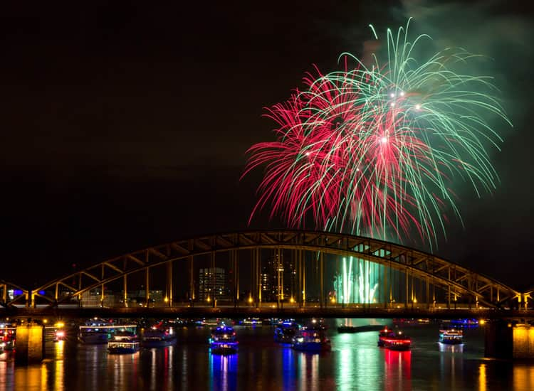 Fireworks lighting up the River Rhine