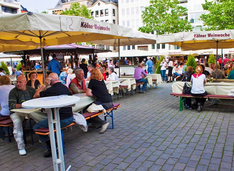 Visitors drinking at Cologne's Wine Week