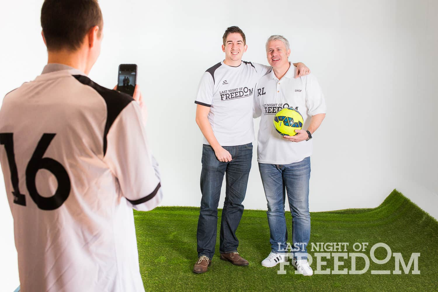 Rob Lee posing for photograph with LNOF operations team member in Last Night of Freedom kit