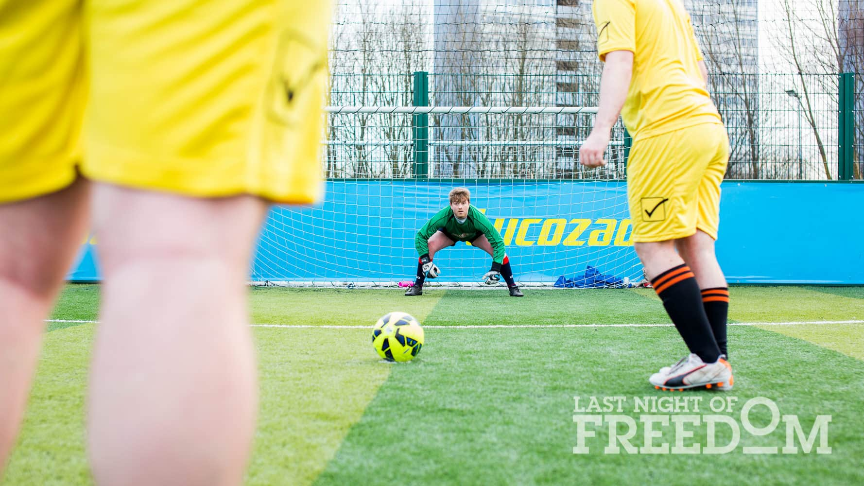Sales Team Leader Adam preparing to save another penalty with the ball on the spot