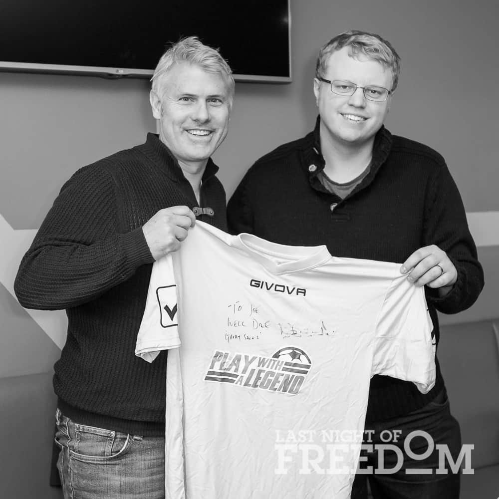 Rob Lee present goalkeeper Joe with his match of the match, signed shirt