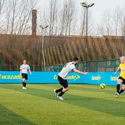 Rob Lee on the ball as an opposition player closes him down