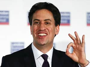 Ed Miliband holding his hand up in