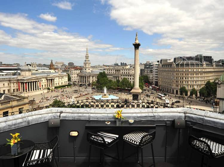 The rooftop bar Bloom gin at Vista at The Trafalgar in London