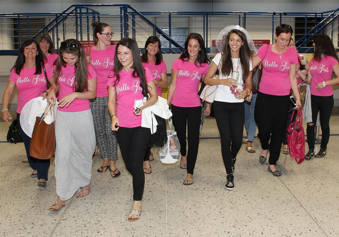 Michelle Keegan and her hen party arriving in Dubai