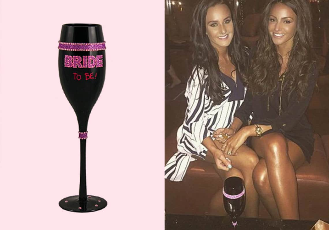 Michelle Keegan drinking with Last Night of Freedom champagne flute