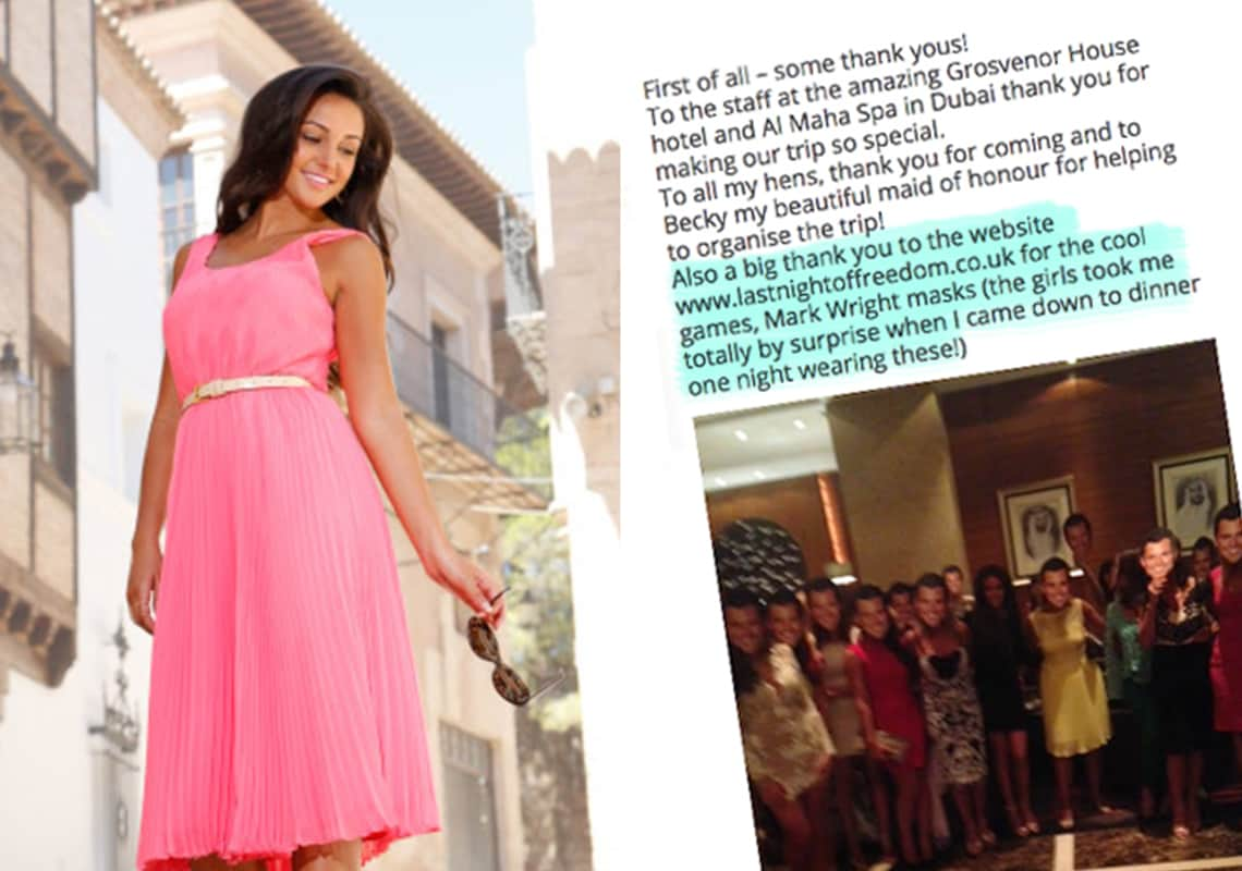 excerpt from Michelle Keegan's blog, praising Last Night of Freedom for their hen party accessories