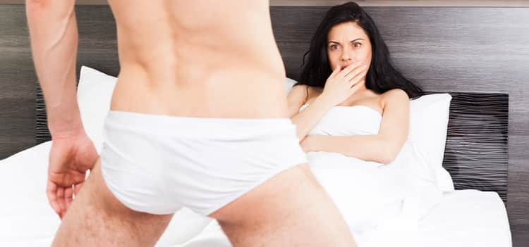 Man in tighty whities and a shocked woman