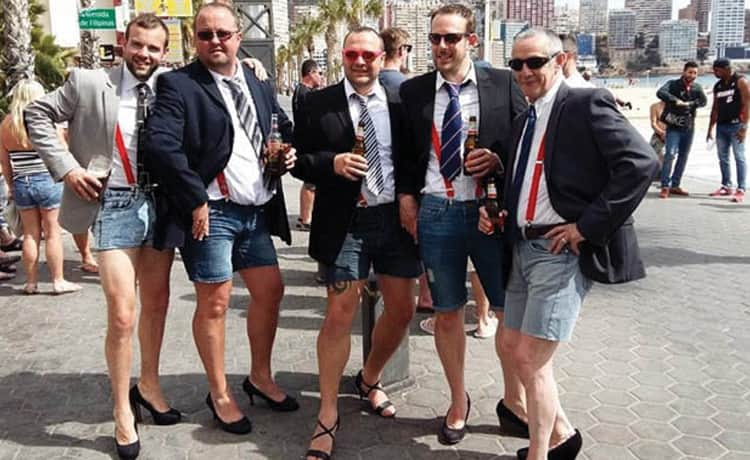 Five men in fancy dress for a stag do