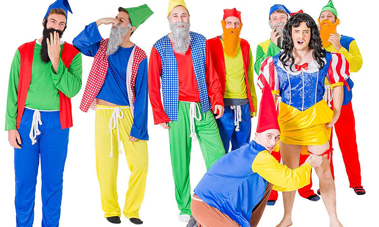A man dressed as Snow White, with seven men in gnome costumes