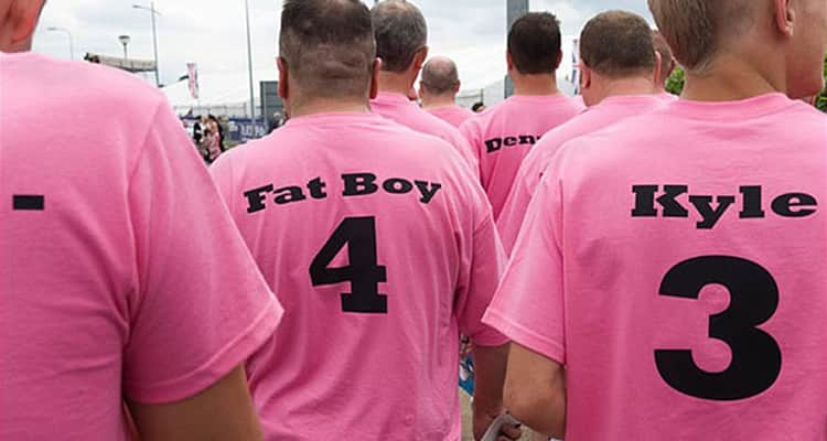 stag group in personalised pink T-shirts