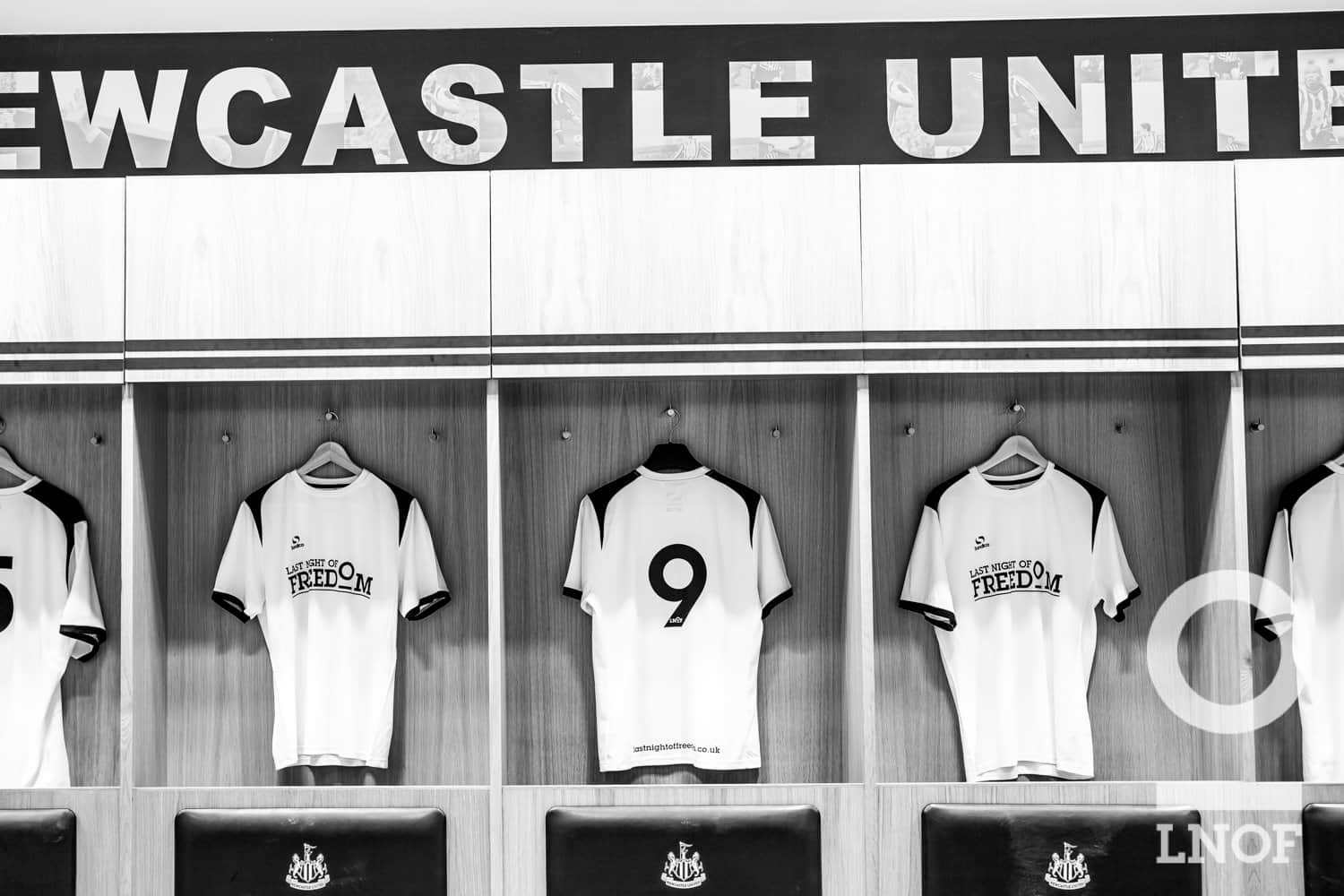 LNOF number 9 in NUFC changing rooms