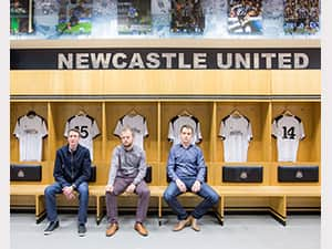 Sean, Andrew and Matt in the NUFC changing rooms