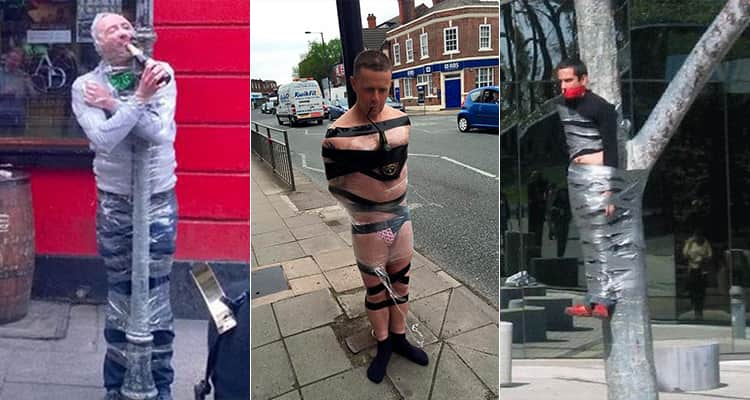 Three men gaffer taped to lampposts
