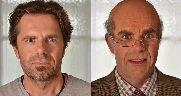 a man in his thirties side by side a makeover of him as an old man