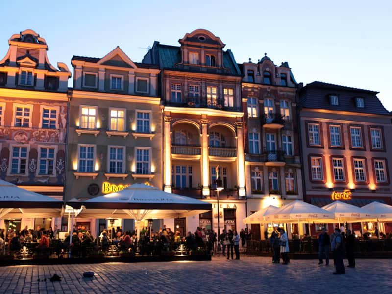 The Old Town in Poznan at night and filled with people