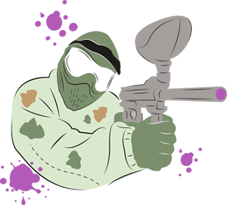 An illustration of a man wearing paintball overalls and a mask whilst holding a paintball gun