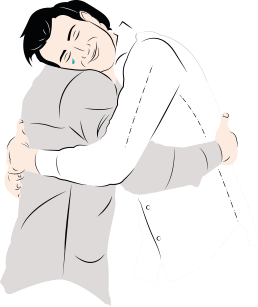 An illustration of two men hugging