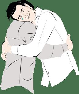 An illustration of two men hugging