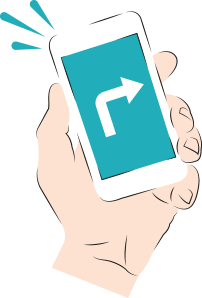 An illustration of a man holding a phone with an arrow on the screen
