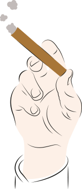 An illustration of a male hand holding a cigar