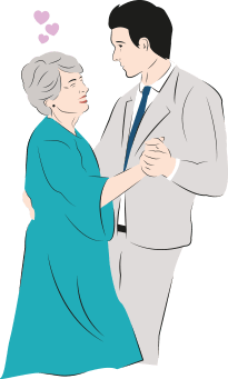An illustration of a man in a suit dancing with an older woman in a blue dress