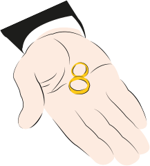 An illustration of a man's hand holding two rings in his palm