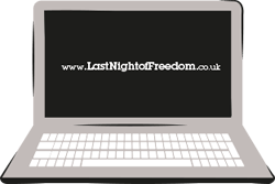 An illustration of a grey laptop with Last Night of Freedom on the screen