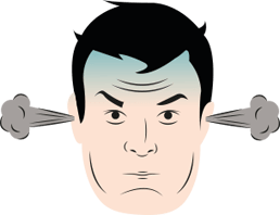 An illustration of a man's head with steam coming out of his ears