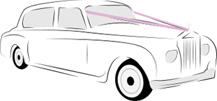 An illustration of a white wedding car with purple ribbon tied to it