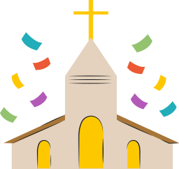 An illustration of a church with confetti in the air