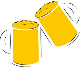 An illustration of two pints of beer clinking together