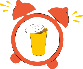 An illustration of a red alarm clock with a yellow coffee cup in the middle of it