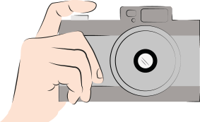 An illustration of a hand holding a grey camera