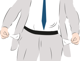 An illustration of a man in a suit pulling out his trouser pockets