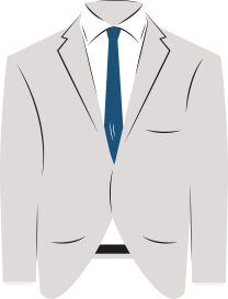 An illustration of a grey suit jacket with a blue tie