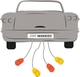 An illustration of the back of a grey wedding car with tins attached to the back of it
