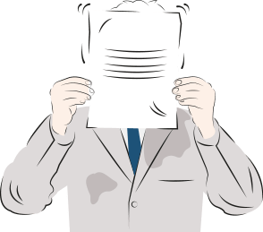 An illustration of a man in a suit holding a piece of paper in front of his head