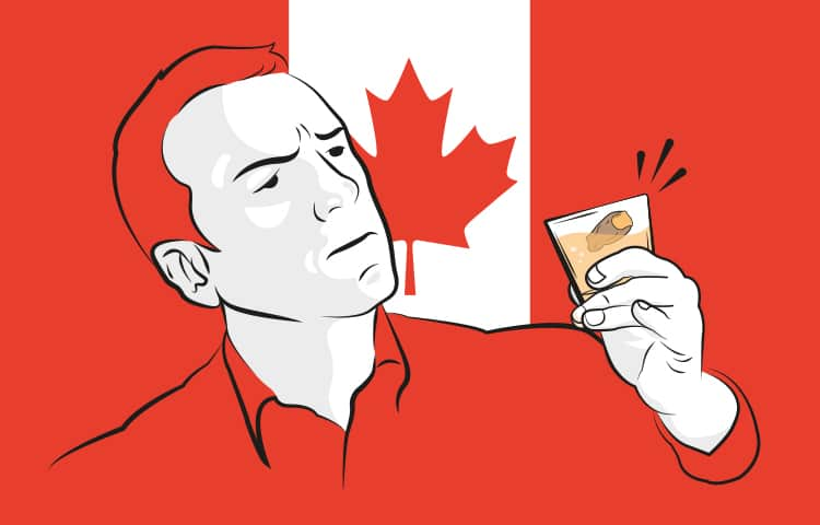 An illustration of a man drinking the famous, Canadian Sour Toe Cocktail with a toe in it