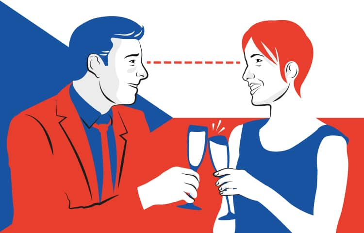 An illustration of a couple toasting with champagne glasses
