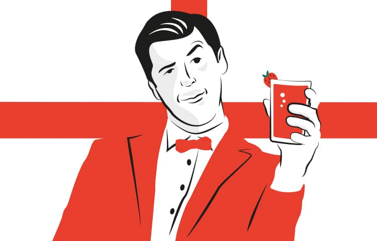 An illustration of a man in a red blazer, holding a glass of Pimms