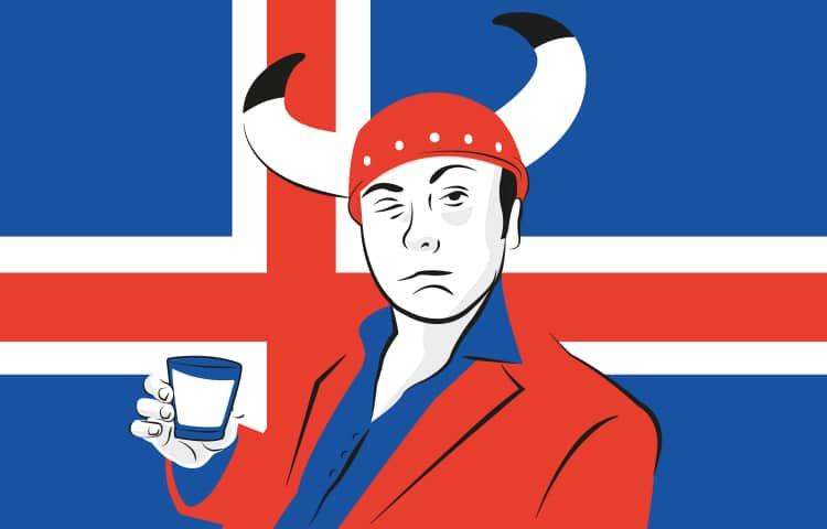 An illustration of a drunk man in a horned helmet, drinking a shot of Brennivin