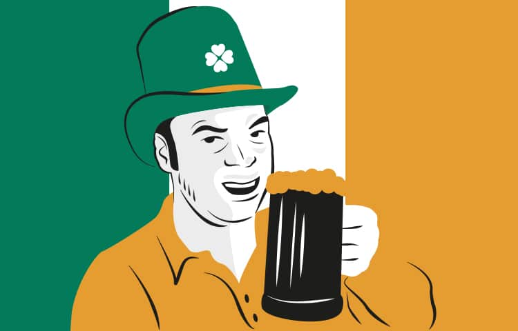 An illustration of an Irish man wearing a green hat and drinking a pint of Guinness