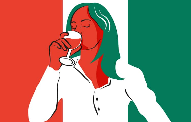 An illustration of an Italian woman drinking a glass of wine