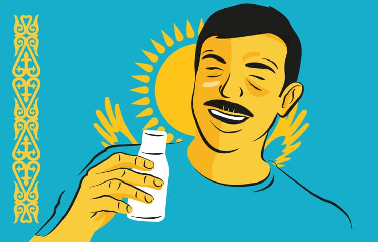 An illustration of a man from Kazakhstan drinking a bottle of fermented mare's milk