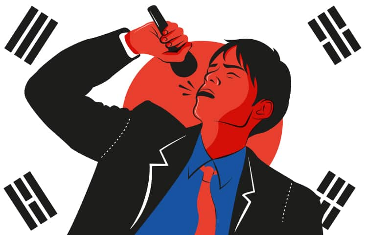 An illustration of a Korean man singing into a microphone